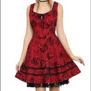 Black and red skull flocked dress